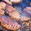Close up of grilled meat and sausage — Stock Photo