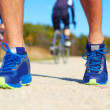 Running shoes - runner legs close-up — Stock Photo