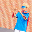 Boy dressed as Superman — Stockfoto