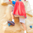 Boy dressed as Superman on climbing wall — ストック写真