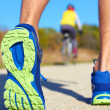 Running shoes - runner legs close-up — Stok fotoğraf