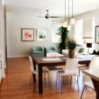 Modern sitting room and dining area - Stockfoto