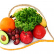Fruits and veggies in heart tape - Foto Stock