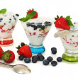 yogurt and fruits parfait — Stock Photo