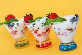Yogurt and fruits parfait — Stock Photo