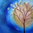 Oil painting of tree against blue sky - Foto de Stock  