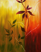 Oil painting of fall leaves — Stock Photo