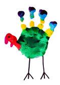 Thanksgiving turkey child art — Stock Photo