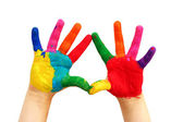 Painted child hands — Stock Photo