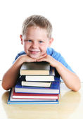 Happy child with books — Stock Photo