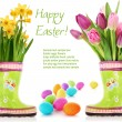 Spring flowers and Easter eggs — Stock Photo #19402511
