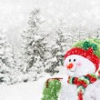 Happy snowman in winter landscape — Stock Photo