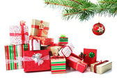 Gift pile under a Christmas tree — Stock Photo