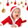 Happy Christmas baby with baubles — Stock Photo