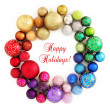 Christmas rainbow wreath decoration on white — Stock Photo