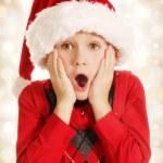 Surprised Christmas boy — Stock Photo