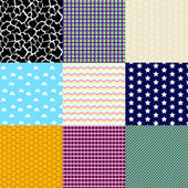Set of nine geometric patterns (seamlessly tiling). — Stock Vector