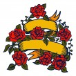 Old-school tattoo ribbon with roses — Vector de stock #38625671
