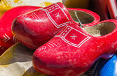Red wooden shoes — Stock Photo