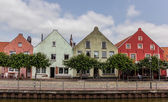Colorful houses at the old harbor of Weener — Stock Photo
