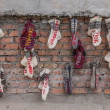 Socks with text on a wall in Kiev — Stock Photo