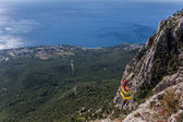 View over cable car from mountain Ai Petri near Yalta — Stock Photo