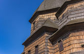 Detail of a traditional wooden church in Zhovkva — Stock Photo
