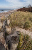 Concrete boulders at the north coast of Poland — Stock Photo