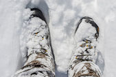 Snowy Winter Boots — Stock Photo
