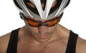 Man with bicycle helmet — Stock Photo