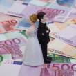 Bridal Couple and Money — Stock Photo