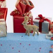 Christmas gifts with reindeer — Stock Photo