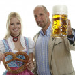 Woman in Dirndl and Man in Leather Trousers — Stock Photo