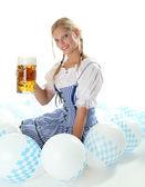 Woman with beer mug — Stock Photo