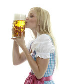 Woman with Beer Mug — Stockfoto