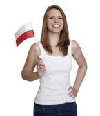 Woman with flag of Poland — 图库照片