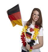 Kobieta z niemiecką banderą — Zdjęcie stockowe