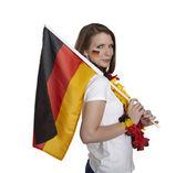 Femme avec drapeau allemand — Photo