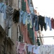 Clothes on washing line in the backyard in Venice - Stock Photo