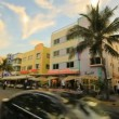 Miami Beach Ocean Drive timelapse - Stock Photo
