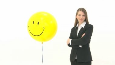 Woman with smiley Balloon — Stock Video