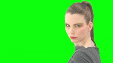 Woman with greenscreen and alpha matte — Stock Video