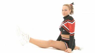 Cheerleader throws an air kiss — Stock Video