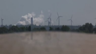 Power plant and wind turbines — Stock Video