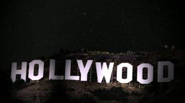 Riflettori di hollywood sign — Video Stock