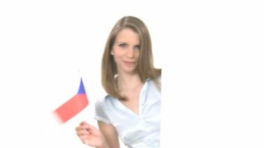 Woman shows Flag with Copyspace — ストックビデオ