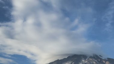Timelapse of clouds passing the peak of Mt Rainier