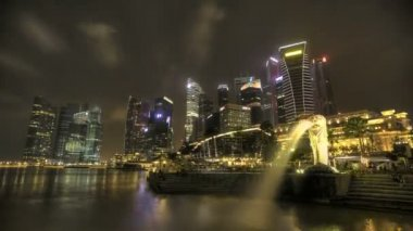 Timelapse Merlion with Skyline — Vídeo de stock