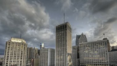 Detroit Downtown Sunset — Wideo stockowe