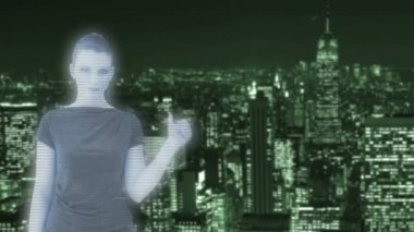 Hologram of a woman in front of New York — Stock Video